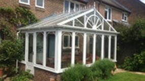 Picture of white PVCu conservatory.